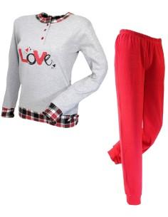 ISIDE Women's pajamas warm cotton interlock Red 80205