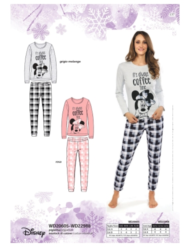 Pigiama Donna Disney Minnie Caldo cotone Interlock S-M-L-XL Rosa WD20605
