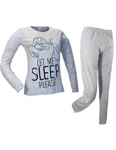 Disney Pajamas Girl Warm Cotton Interlock 7 NANI PISOLO Gray WD22989