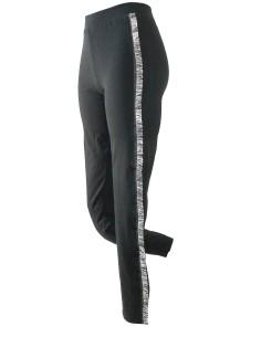 Leggings Jadea 4954 cotone elasticizzato Nero con frange laterali