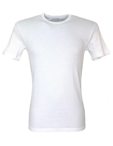 2 X Maglia Intima Uomo LIABEL Cotone Felpato scollo V Bianco