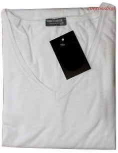 Maglia Uomo manica corta Enrico Coveri XL tessuto fiammato scollo V bianco 1503