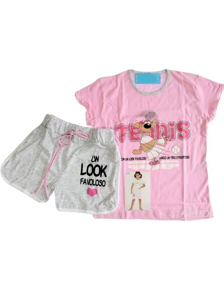 Pyjama bébé manches courtes en jersey de coton à manches GARY 5 ans Rosa 23590