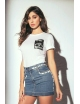 Woman Jadea short sleeve t-shirt cool round neck white cotton 4940