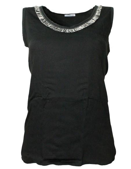 Women's Jadea wide tank top cool cotton Black 4945