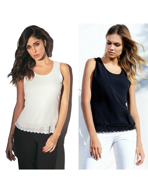 Women's Jadea wide tank top cool cotton with lace 4950
