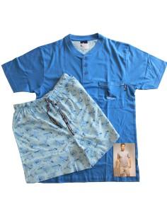 Pigiama uomo GARDA manica corta pantalone corto puro cotone misura S azzurro 310