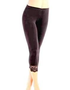 Pantacollant Leggings modello Capri con Pizzo Jadea colore Nero 4319