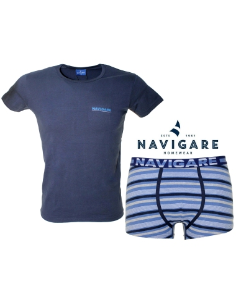 Men's Set Coordinated Underwear Navigare Girocollo + Slip Navy 11599