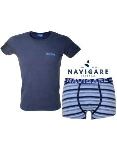 Ensemble de sous-vêtements pour hommes assortis Navigare Girocollo + Slip Navy 11599