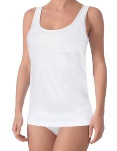 Undershirt Women Underwear Wide Shoulder Ribbed White 1015
