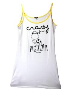 Camicia da Notte Donna Canotta Crazy Farm Spalla Stretta colore Bianco 15522