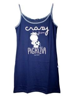 Camicia da Notte Donna Canotta Crazy Farm Spalla Stretta colore Blu 15522