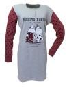 Pigiama Donna Caldo Cotone Crazy Farm maxi maglia misure M-L-XL rosso 15561