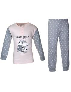 Pigiama Bimba caldo cotone interlock Pigiama Party Crazy Farm rosa 32188