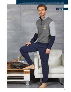 NAVIGATE Pyjamas pour hommes Interlock d'hiver en coton chaud SML-XL-XXL 2141146