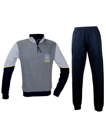 NAVIGATE Pajamas for men Fleece cotton half zip collar measures SML-XL-XXL 2141164