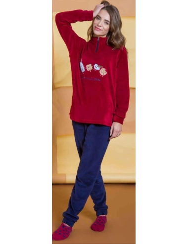 Pigiama Donna caldo PILE CORAL FLEECE Milk and Honey misure S-M-L-XL Blu PD0930