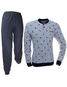 NAVIGARE Pyjama pour homme Interlock d'hiver en coton chaud SML-XL-XXL 2141138