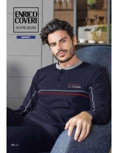 Pigiama Tuta Uomo Enrico Coveri Fresco Cotone Jersey manica lunga oceano EP8131