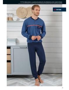 Pigiama Uomo Navigare Fresco Cotone Jersey pantalone manica lunga 2141196