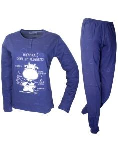 Pigiama Donna Crazy Farm fresco cotone jersey manica lunga Blu 15600