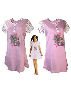 Camicia da Notte Corta Donna Puro Cotone Mezza Manica misure S-M-L-XL Rosa 105