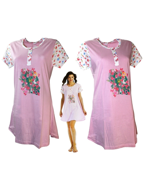 Women's Short Nightdress Pure Cotton Half Sleeve SML-XL measures 105 Pink