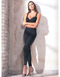 Jadea Leggings Donna cotone elasticizzato con profili in pelle Nero 4168