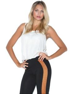 Jadea Leggings Donna cotone elasticizzato con bande laterali in lurex 4175