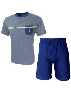 Pigiama Corto Uomo Navigare Fresco Cotone Jersey pantalone manica corta 2141212