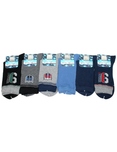 Short baby socks in warm cotton by Enrico Coveri 6 assorted pairs bs3