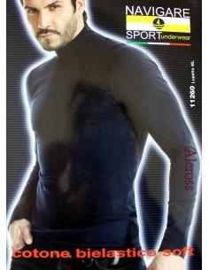 Lupetto Uomo sotto giacca Navigare Nero-Blu Misure M-L-XL-XXL manica lunga 11260