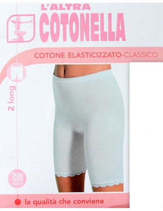 2 Slip Long Donna Cotonella Gamba lunga elasticizzato 4-5-6-7 Bianco Nero 3163