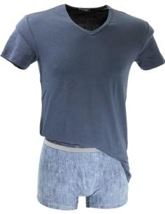 Coordinato Uomo Enrico Coveri T-Shitr M/M Boxer Tg 4/M-5/L-6/XL Blu Nero 1600