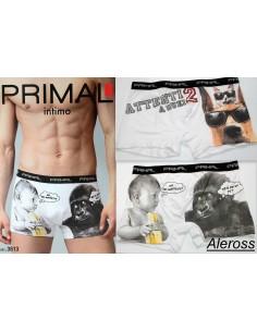 Boxer Uomo Primal Misure 3/S-4/M-5/L Fantasie Cane/Gatto-Gorilla/Bimbo 3613