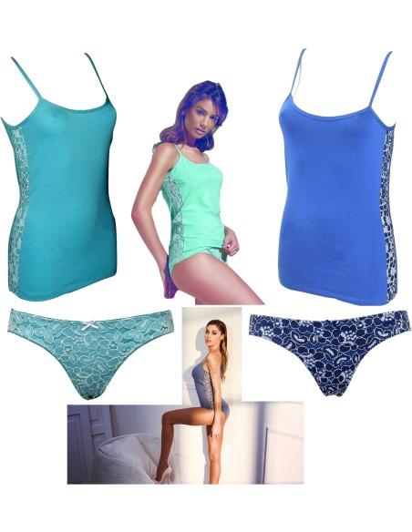 Women's Jadea Set Short Shoulder Top + Lace 4633 Cotton Briefs