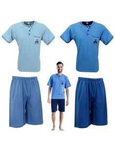 Pigiama Uomo Manica Pantalone corto Puro cotone M-L-XL-XXL Azzurro Celeste 80438