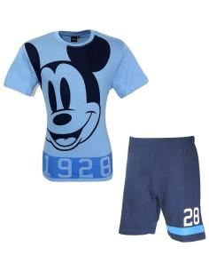 Pigiama Uomo Disney TOPOLINO Cotone Mezza Manica 46-48-50-52 Grigio Azzurro14085