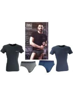 Coordinato Uomo Enrico Coveri T-Shitr M/M Slip Tg 4/M-5/L-6/XL Blu Nero 1606/S