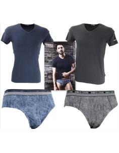 Coordinato Uomo Enrico Coveri T-Shitr M/M Slip Tg 4/M-5/L-6/XL Blu Nero 1600/S