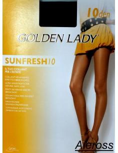 Collant Donna Golden Lady SUNFRESH estivo 10 DEN Marrone Tg 2-3-4 abbronzato102A