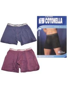 2 PEZZI Boxer Mutanda Uomo cotone bielastico Cotonella Misura S Bordò-Blu 2384