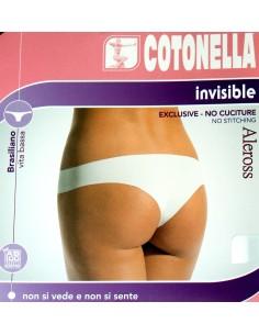 SLIP DONNA BRASILIANO COTONELLA MISURE 2-5 NERO INVISIBILE SENZA CUCITURE 8141
