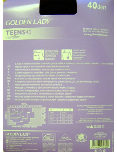 Collant Donna Microfibra Coprente Vita Bassa Golden Lady Teens 40 DEN Nero