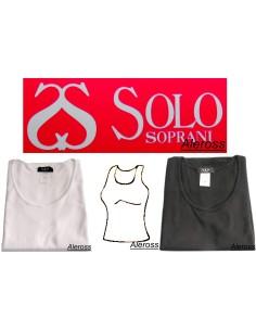 Maglia intima Donna Mezza manica cotone felpato Nero-Bianco Solo Soprani Amanda