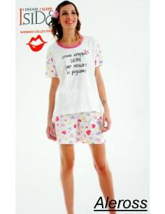 Pyjama Robe Femmes pur coton Nuit Taille L Baisers 80236 Couleur Vert