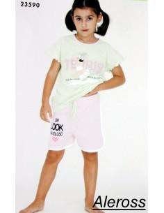 Pigiama bimba GARY cotone jersey manica corta mezza manica 5 anni Rosa 23590