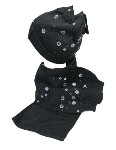 Set donna sciarpa + cappello con applicazioni colore nero misura unica 1373