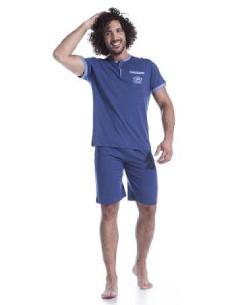 Pigiama Uomo Corto Iside puro cotone jersey mezza manica Celeste 80428